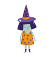 happy halloween little witch with starry dress vector image vector image