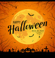 happy halloween message yellow full moon vector image vector image
