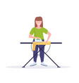 housewife ironing clothes young woman holding iron vector image
