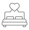 lovers bed thin line icon love and sleep double vector image vector image