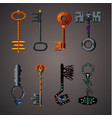 magic keys fantasy set cartoon icons collection vector image