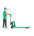 man with hand pallet jack lift isolated on white vector image