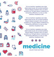 medicinal poster design with medicine line icons vector image vector image