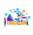 men and women study around yellow word education vector image vector image
