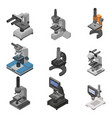 microscope icon set isometric style vector image
