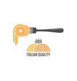 pasta on fork italian pasta logo on white vector image vector image