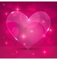Pink thin shining glass heart on lights background vector image