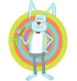 rabbit eating carrot vector image vector image