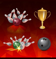 realistic bowling icon set on red triangular vector image vector image