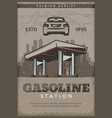 retro poster of gasoline station vector image vector image