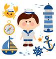 sailor boy nautical set collection vector image vector image