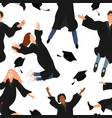 seamless pattern with young graduate students vector image vector image