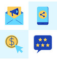 seo and marketing icon set in flat style vector image