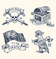 set engraved hand drawn old labels or badges vector image vector image