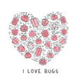 set of doodle insects in form of the heart vector image vector image
