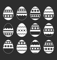 set of isolated easter eggs on a black background vector image
