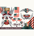 set of vintage elements united states symbols vector image