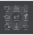 spa thin line icons set on dark background vector image