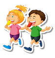 sticker template with couple kids students vector image