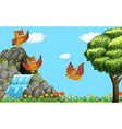 Three owls flying over waterfall vector image vector image