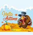 turkey on autumn template vector image vector image