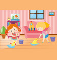 two girls mopping living room vector image vector image