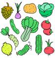 vegetable set doodles design cartoon vector image
