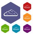 wet cloud icons set hexagon vector image vector image