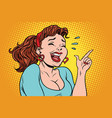 young woman laughing with tears points a finger vector image vector image