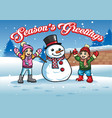 kids plays with snowman vector image