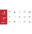 15 umbrella icons vector image vector image