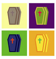 assembly flat icons halloween coffin vector image