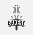 bakery logo with whisk for baking on white vector image