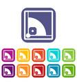 baseball field icons set vector image vector image