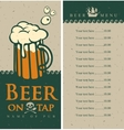 beer menu with glass vector image vector image
