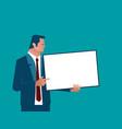 businessman holding chalk board vector image