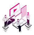 businessmen group laptop application network data vector image