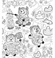 busy yetie seamless pattern in contour cartoon vector image