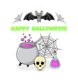 cartoon doodle card happy halloween background vector image