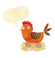 Cartoon hen on eggs with speech bubble
