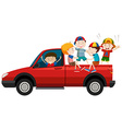 Children riding on pick up truck vector image vector image