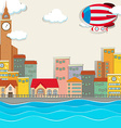 City scene by the river vector image vector image