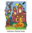 colorful halloween scary haunted house at night vector image