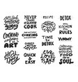 cooking slogans handwritten black lettering set vector image