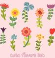 Cute vintage hand drawn flowers set vector image vector image