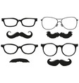 Different designs of mustache and glasses vector image vector image