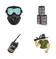 equipment mask barrel barricade paintball set vector image vector image