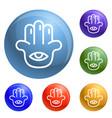 eye palm icons set vector image vector image