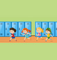 four kids running in locker room vector image vector image