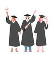 graduates students holding diplomas vector image vector image
